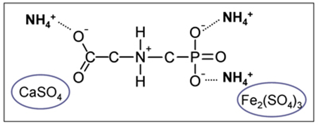 Figure 3.  If sufficient ammonium ions are dissolved in water they can overwhelm the calcium and magnesium ions in the hard water forming the efficacious ammonium glyphosate.  The sulphate ions can also bind with the calcium, magnesium and even iron ions causing them to precipitate in the tank, further protecting the glyphosate but increasing the risk of filter residues (Courtesy of the University of Nebraska – Lincoln).
